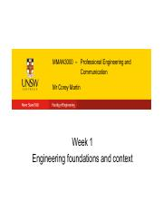 Lecture 1 - Engineering Foundations and context
