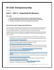 EP2150 - Unit 1 - Part 2 Organizing the Business