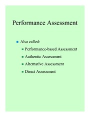 Performance assessment powerpoint