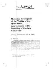 Numerical Investigation of the Validity of the Quasi-Static Approximatoin in the Modelling of Cataly