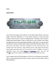 T E 9 Nucor's motivation