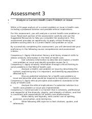 Assessment 3 Developing a Health Care Perspective.docx
