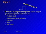 Topic 3 Project Quality Management