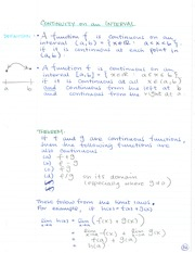 MATH 133 Continuity On an Interval Notes