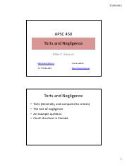 APSC 450 Lecture 6 - Powerpoint - Torts and Negligence
