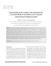 Determination of the residence time distribution for viscoelastic fluids in the tubular reactor usin