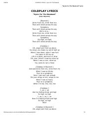 COLDPLAY LYRICS - Hymn For The Weekend.pdf