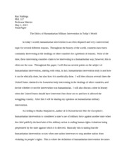PHL 317 Final Paper- Military Intervention