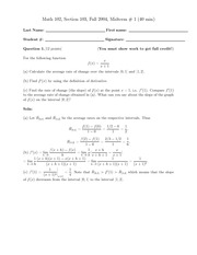Math 102 - Midterm 1 (2004) with solutions