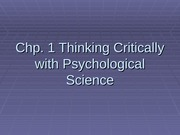 1 - Thinking Critically