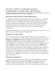 NT1310 Week 2 Cabling Design, Standards, Codes and Definitions
