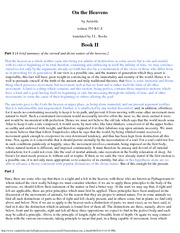 Astronomy 203_Lecture Notes on On the Heavens Book 2