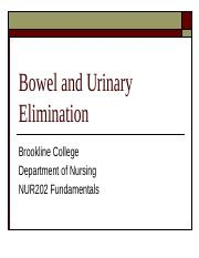 Week 7 - Urinary and Bowel Elimination