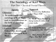 Sociology 2012-2013S1 - Part 2 - Classical Social Theory - Marx