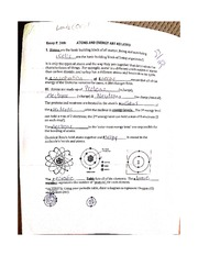 Atoms and Energy Worksheet