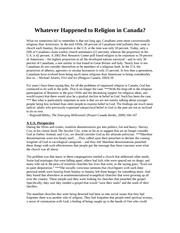 Whatever Happened to Religion in Canada