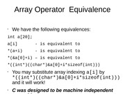 Array Operator  Equivalence