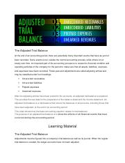 the adjusted trial balance and preparing financial statements