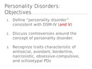 CONNECT notes Personality Disorders - chp 16