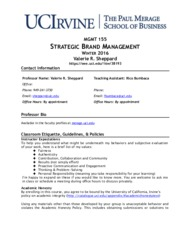 MGMT 155 winter syllabus  Sheppard Brand management