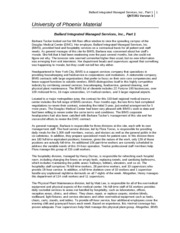 ballard integrated managed services inc essay Related documents: qnt 351 data collection essay essay on  read the university of phoenix material: ballard integrated managed services, inc, part 2.
