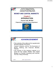 Chapter 0 - Introduction - Money and capital market