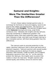 samurai and knights were the similarities greater than the differences essay