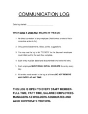 COMMUNICATION LOG INSERT