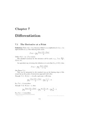 Chapter 7 Differentiation