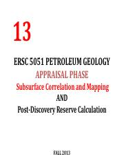 Lecture 13 ERSC 5051Petroleum Geology Subsurface Cross section AND Mapping FALL2013