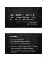 Lecture 11 Reproductive Health & Healthcare Disparities in the US