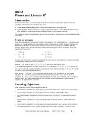 Unit 2 Planes and Lines in R3