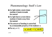 Refraction and Snell's Law notes