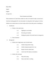Sample Outline with Thesis Statement