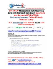 (2018-2-7)New Braindump2go 70-761 Dumps with PDF and VCE 135Q&As Free Share(106-113).pdf