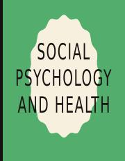 psy321 Social psych and health