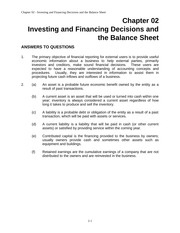 Investing and Financing Decisions and the Balance Sheet Chapter 2 Questions with Answers