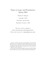 Topics in Logic and Foundations