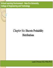 Chapter 6 – Discrete Probability Distributions