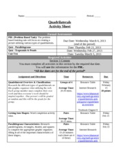 Quadrilaterals Activity Sheet