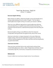 Teaching Business English - Lesson 9 Summary