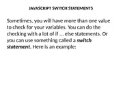 JAVASCRIPT SWITCH STATEMENTS & loops