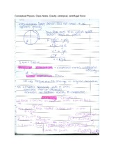 Conceptual Physics- Class Notes- Gravity, centripical, centrifugal Force