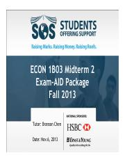 Econ 1B03 Midterm2 Package Fall 2013