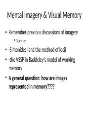 Unit 3 Psych 2135B mental imagery-1-1 ppt - Mental Imagery