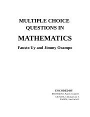 MULTIPLE CHOICE QUESTIONS in MATHEMATICS by Jimmy Ocampo