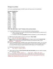 Answer to Sample Mortgage problems F11