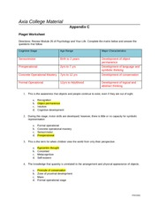 PSY 201 Week 5 Piaget Worksheet Assignment