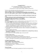 Learning Exercise 3 Global Climate Change due 20160218 Guidelines & Resources