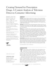 Frosch et al's Creating Demand for Prescription Drugs-A Content Analysis of Television Direct-to-Con